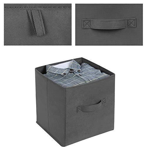 SONGMICS Storage Bins Cubes Baskets Containers with Dual Non-Woven Handles for Home Closet Bedroom, Drawer Organizers, Flodable, Gray, Set of 6, 10 x 10 x 11 Inches UROB26G