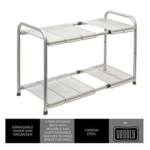 Venoly Home - Under Sink 2 Tier Expandable Shelf Organizer Rack, Silver - Expands from 18 Inches to 30 Inches