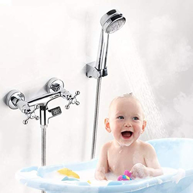 LED Digital Shower and Kitchent Faucet Thermometer, Hydro-Power Real Time Bath Water Temperature Monitor for Kids