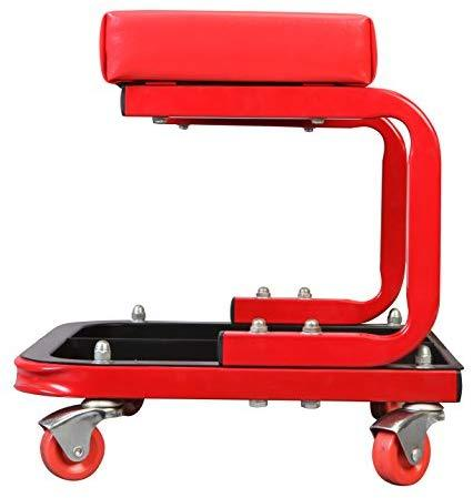 Torin Big Red Rolling Creeper Garage/Shop Seat: Padded Mechanic Stool with Tool Tray, Red