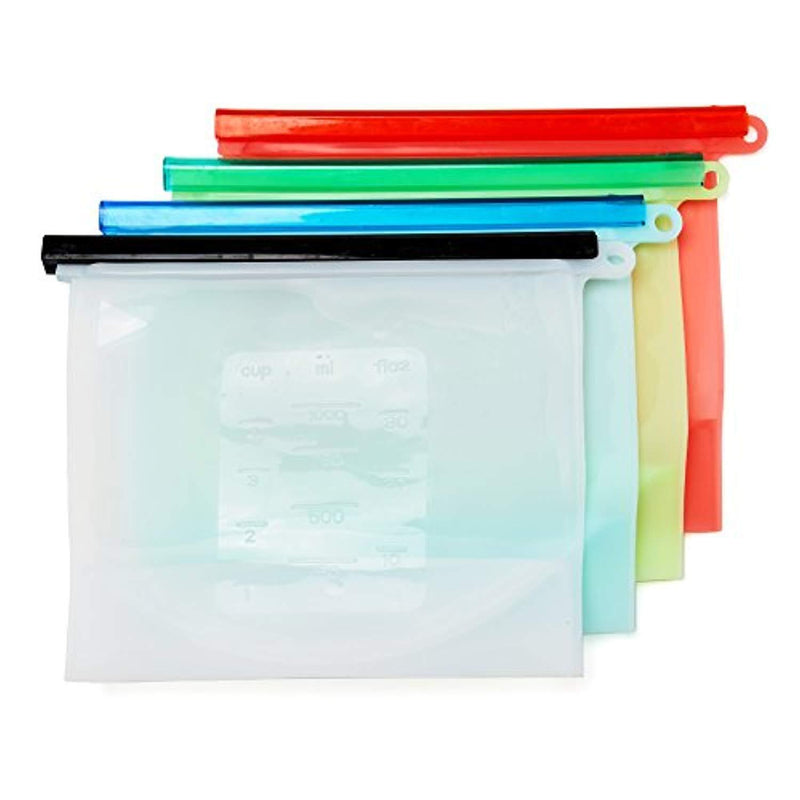 Reusable Snack Bags - Reusable Silicon Food Storage Bag 4 Pack by EvCo | for Your Lunch, Sandwich, Vegetables, Produce, Snacks and All Kinds of Food | BPA Free Eco Friendly & Sustainable Containers