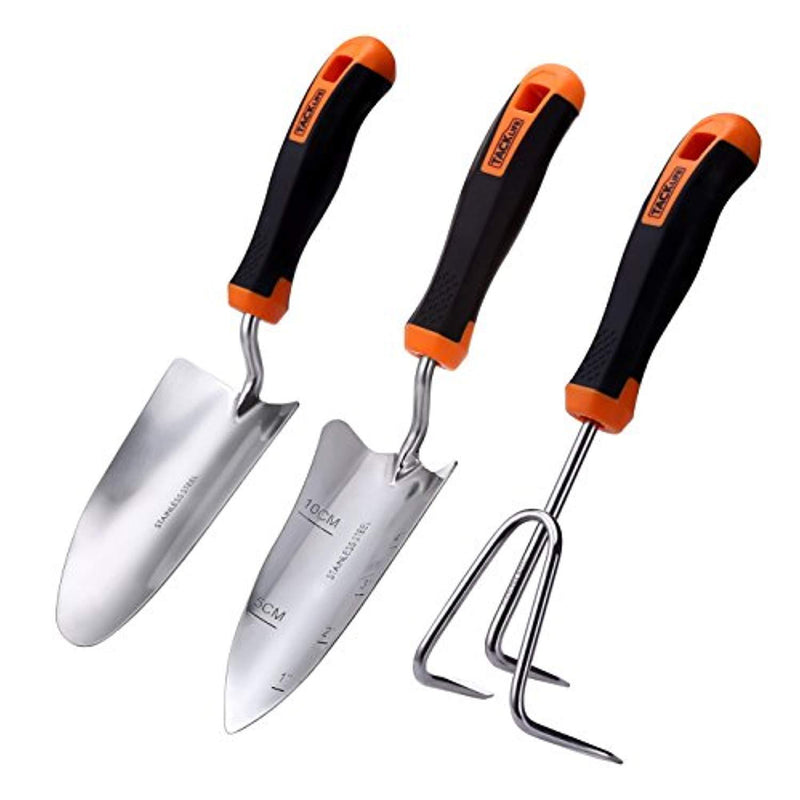 TACKLIFE Garden Tool Set, 3 Piece Stainless Steel Heavy Duty Gardening Kit with Soft Rubberized Non-Slip Handle - Trowel, Transplant Trowel and Cultivator Hand Rake - Garden Gifts for Parents丨GGT1A