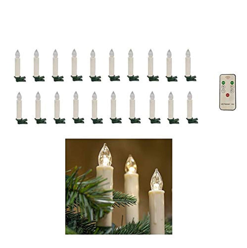 Xgunion 20pcs LED Flameless Taper Candle Lights with Remote, Warm White, for Weddings and Holidays