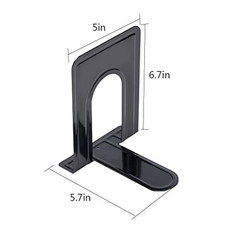 Black Bookend Supports, Metal Nonskid Heavy Duty Bookends (6Pair/12 Piece), Standard Size 5.7 x 5 x 6.7in, Great for Bookshelf Office School Library