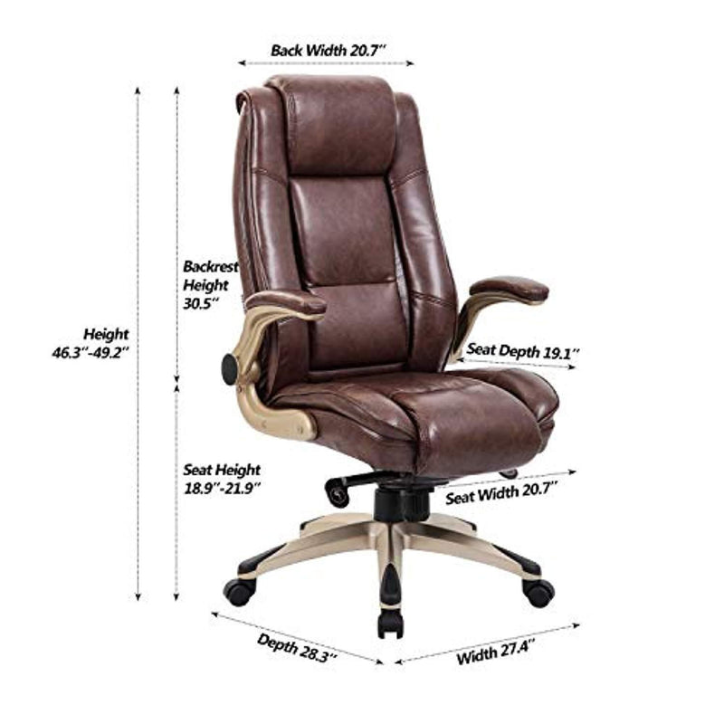 Worpson High Back Bonded Leather Executive Office Chair - Flip-up Arms, Adjustable Recline Locking Mechanism, Thick Padding and Lumbar Support Task Chair - Brown