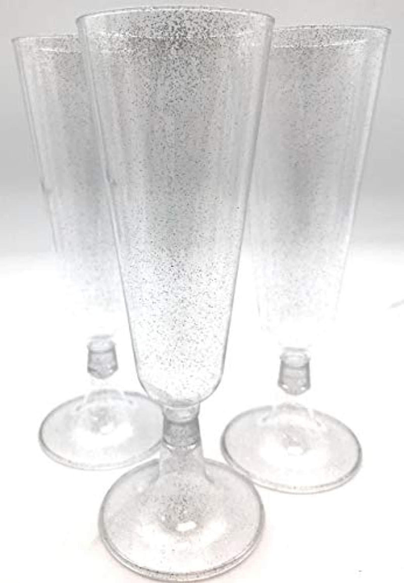 Oojami 140 pc Silver Glitter Plastic Classicware Glass Like Champagne Wedding Parties Toasting Flutes Party Cocktail Cups