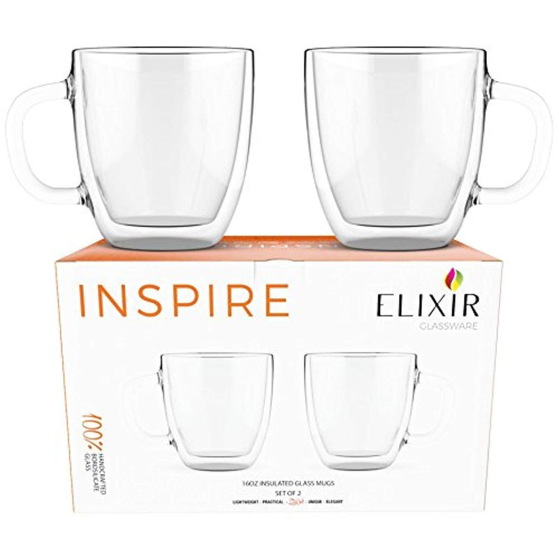 Large Coffee Mugs, Double Wall Glass Set of 2, 16 oz - Dishwasher & Microwave Safe - Clear, Unique & Insulated with Handle, By Elixir Glassware