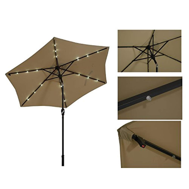 Paulla 9Ft LED Lighted Patio Market Umbrella Outdoor Solar Powered Table Umbrella, 6 Ribs (Beige)