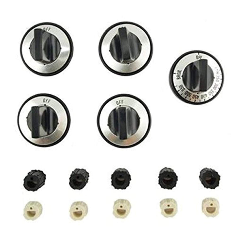 Gas Range Replacement Knob Set with Universal Insert Adapters (Gas Range) New