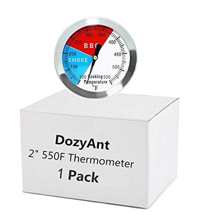 "DozyAnt 2"" 550F BBQ Barbecue Charcoal Grill Pit Wood Smoker Temp Gauge Grill Thermometer 2.5"" Stem Stainless Steel RWB"