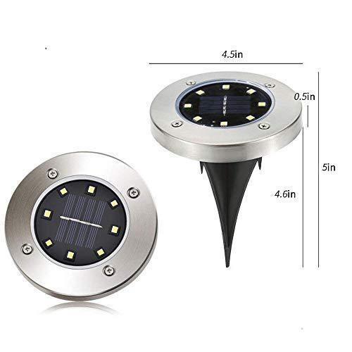 12 Pack Solar Powered Ground Lights, 8LED Solar Pathway Lights Solar Powered Disk Garden Light Solar Lawn Lights, Outdoor Waterproof Solar Patio Landscape Lighting for Deck Yard Walkway-White (12)
