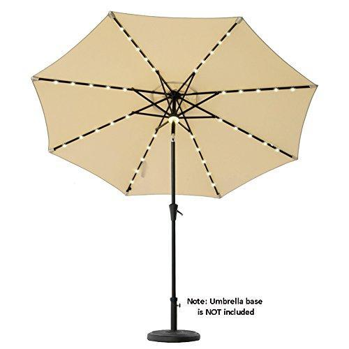 C-Hopetree 9' Solar LED Lighted Outside Patio Market Umbrella for Outdoor Table Balcony Garden Deck Poolside with Tilt, Navy Blue