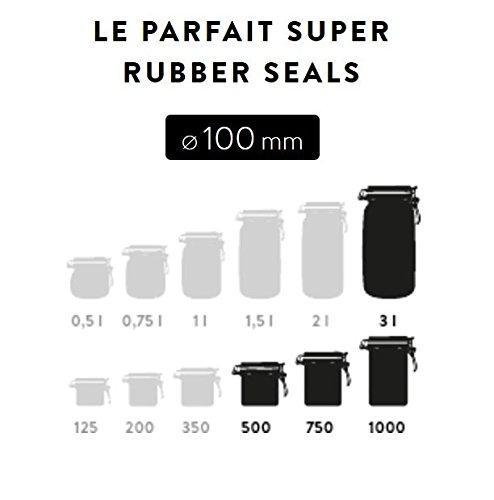 Rubber Le Parfait Glass Canning Jar 100mm Replacement Gaskets for 3 L Super Jars & 1000g Terrine Jars (Large Size) - Pack of 12