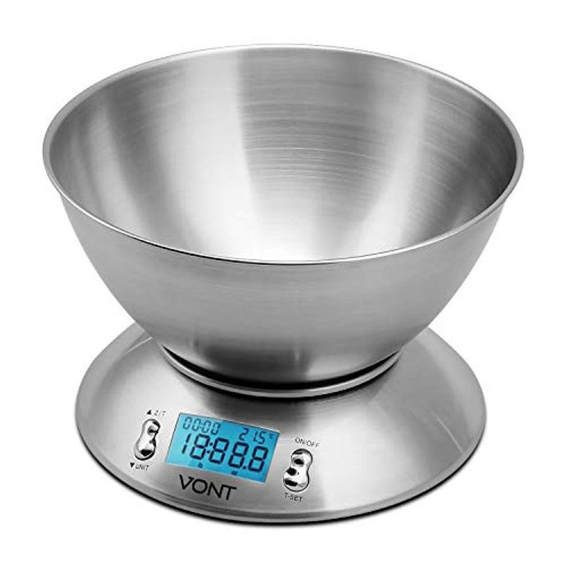 Vont Digital Kitchen Scale / Food Scale, Detachable Bowl Design, Gorgeous Stainless Steel Design with Alarm Timer & Temperature Sensor