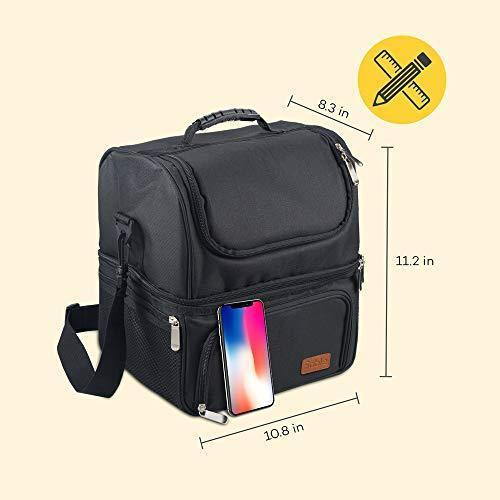 Large Lunch Box for Men, Insulated Adult Lunch Bag, Sable Reusable Waterproof Cooler Tote Bag for Meal Prep with 2 Main Spacious Compartments