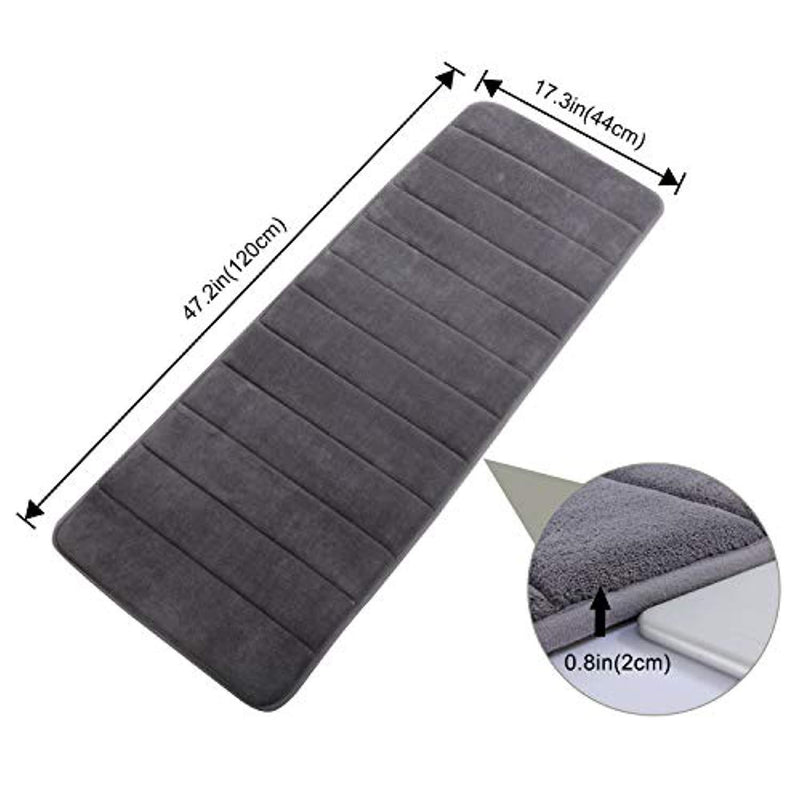 "Lifewit 47.2"" x 17.3"" Bathroom Bath Runner Rug Long Soft Water Absorbant Memory Foam Rubber Back Anti-Slip Grey"