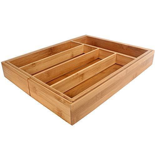 Growsun Bamboo Drawer Utensil Organizer Expandable Kitchen Cutlery Utility Tray,100% Pure Nature Bamboo