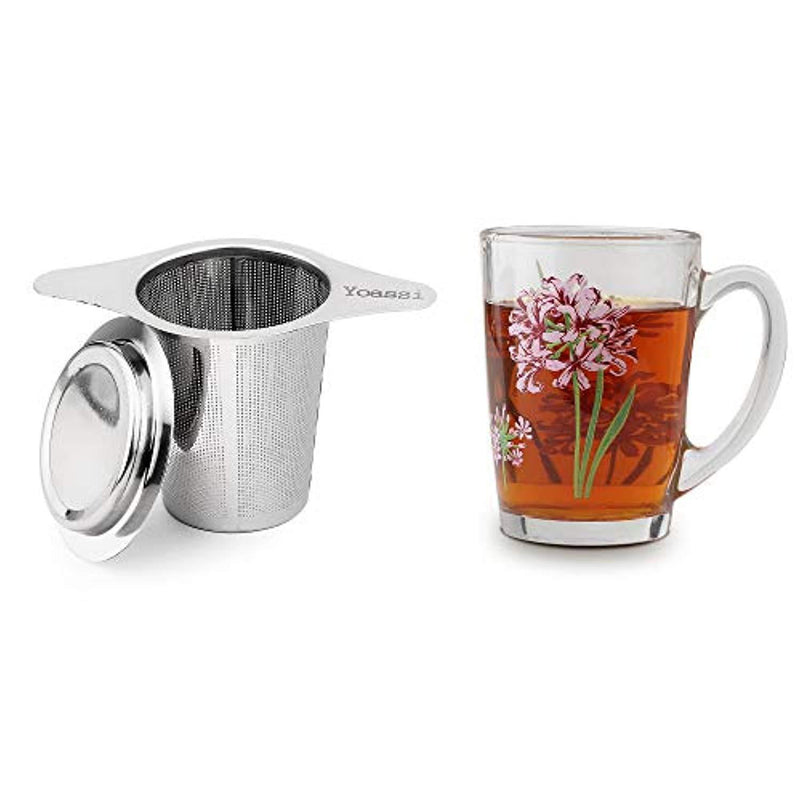 Yoassi Extra Fine FDA Approved 18/8 Stainless Steel Tea Infuser Mesh Strainer with Large Capacity & Perfect Size Double Handles for Hanging on Teapots