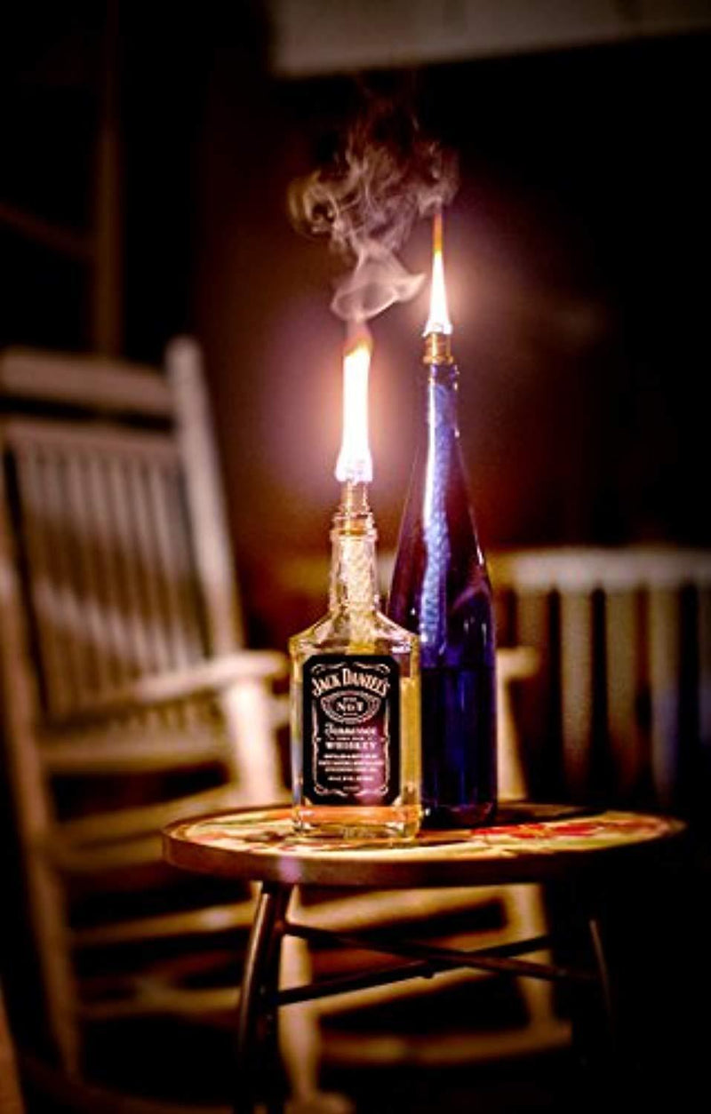 Kentucky Home 3 Pack: Table Bottle Torch Kit - Includes 3 Wicks and Brass Wick Mount - Just Add Bottle for an Outdoor Wine Bottle Light