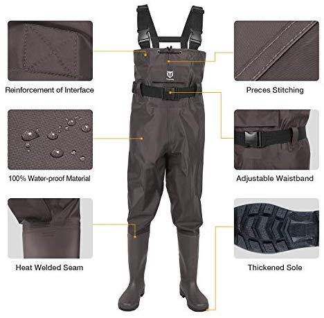 TIDEWE Bootfoot Chest Wader, 2-Ply Nylon/PVC Waterproof Fishing & Hunting Waders for Men and Women (Green and Brown)