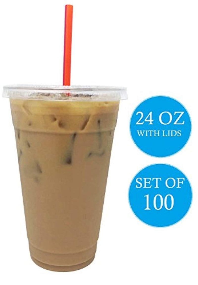 Premium Quality 24 Oz Clear Plastic Cups By Kozypak – Strong, Durable Cups 100-Pcs Set With Lids – Ideal For Coffee, Alcohol, Soda, Water & Other – Suitable For Home & Professional Use