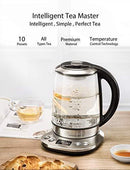 Electric Kettle, Willsence Electric Tea Kettle Stainless Steel Glass Boiler Hot Water Tea Heater with Temperature Control LCD Display, Removable Tea Infuser, 1.7 L, 1200W (Glass)
