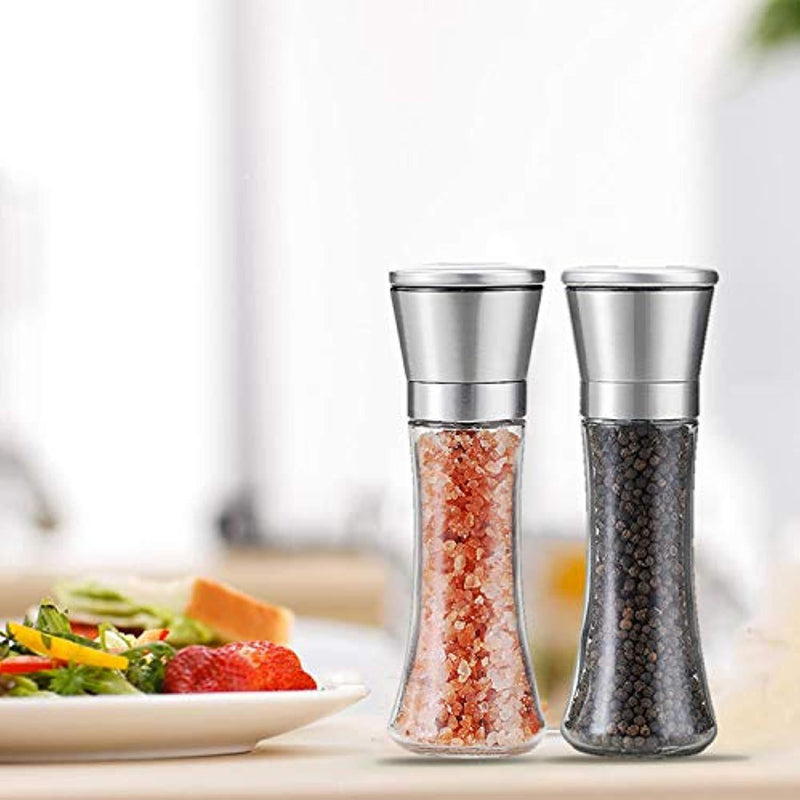 TGY Salt and Pepper Grinder Set Tall Salt and Pepper Shakers Pepper Mill Salt MilSet of 2l Stainless Steel Adjustable