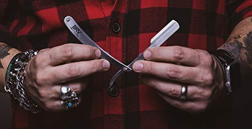 Straight Razor | 100 Single Edge Lord Platinum Saloon Blades | 100% Stainless Steel | Professional Shavette for Close Shaving | Exquisite Design for Classy Gentlemen | Straight Razor Set - BRV MEN