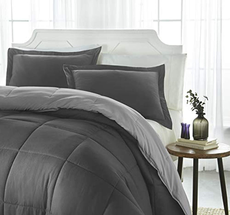 iEnjoy Home Collection Down Alternative Reversible Comforter Set -Queen -Gray/Light Gray