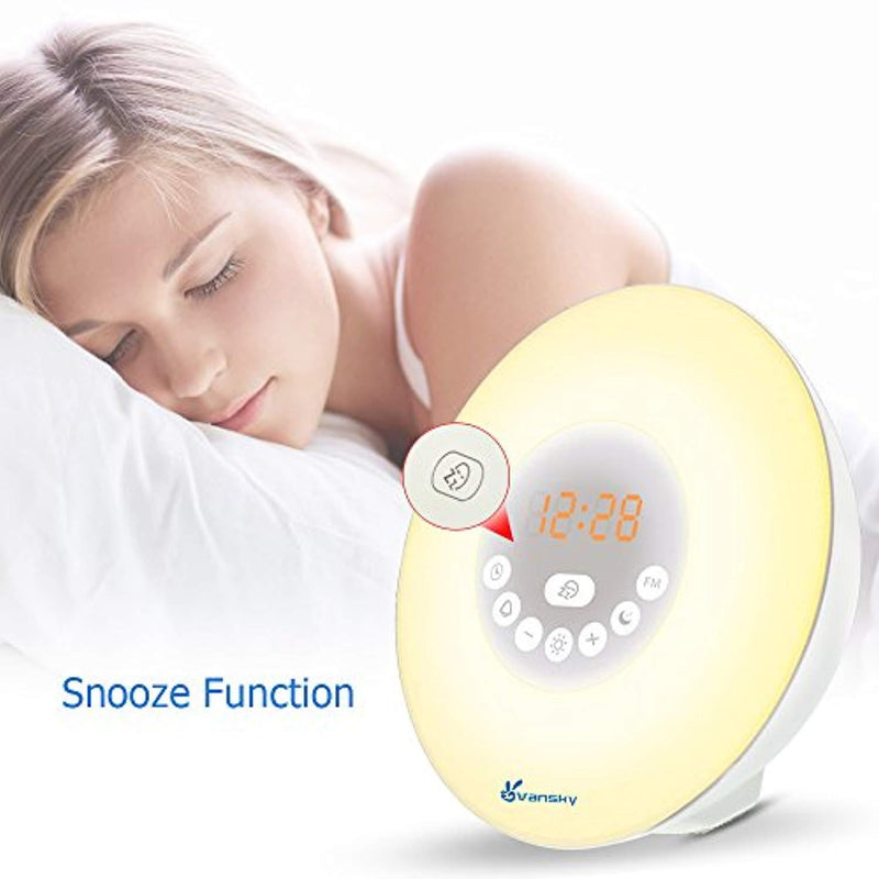 Sunrise Alarm Clock, Vansky 2018 Edition Wake Up Light Digital Clcok Multi-Colorful Night Light Bedside Lamp with Snooze Function, 6 Nature Sounds, FM Radio, Brightness Adjustable, Touch Control