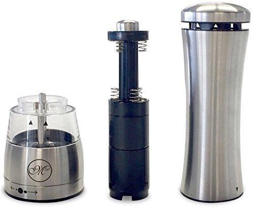 Battery Operated Salt and Pepper Grinder Set with Mill Tray & Light Function - Electric, Stainless Steel, Adjustable Coarseness