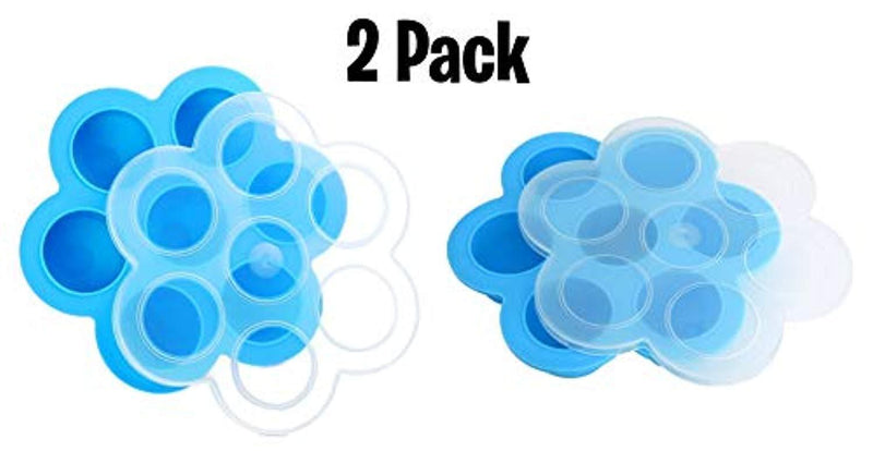 2 Pack Blue Silicone Egg Bites Molds for Instant Pot Accessories – Fits Instapot 5, 6, 8 qt Pressure Cooker, Freezer Accessory, Sous Vide Egg Poacher Ring