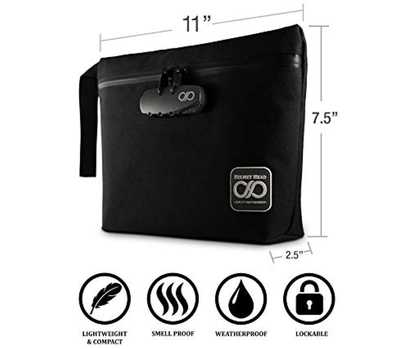 Smell Proof Bag + Grinder Card | Durable Water Resistant Stash Bag W/Combination Lock & Inside Pouches for Your Herbs & Smelly Smoking Accessories: Pipe, Vape, Rolling Papers - 11x7.5x2.5