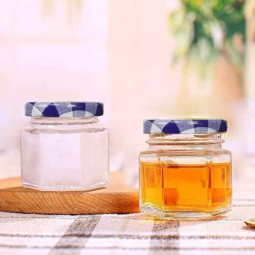 Encheng 1.5 oz Clear Hexagon Jars,Small Glass Jars With Lids(golden),Mason Jars For Herbs,Foods,Jams,Liquid,Mini Spice Jars For Storage 30 Pack