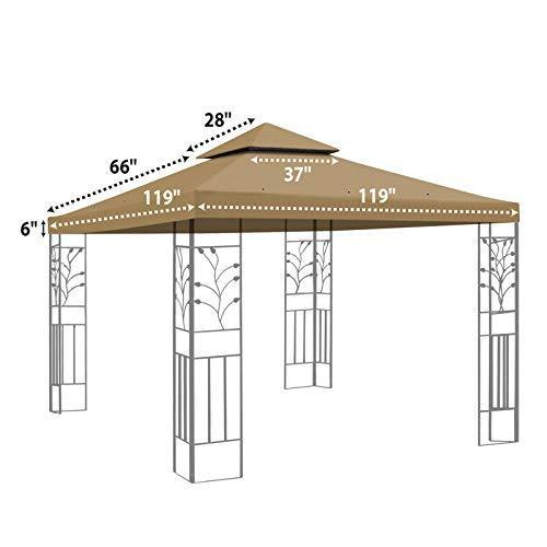 Replacement 10'X10'Gazebo Canopy top Patio Pavilion Cover Sunshade plyester Double Tiers-Taupe