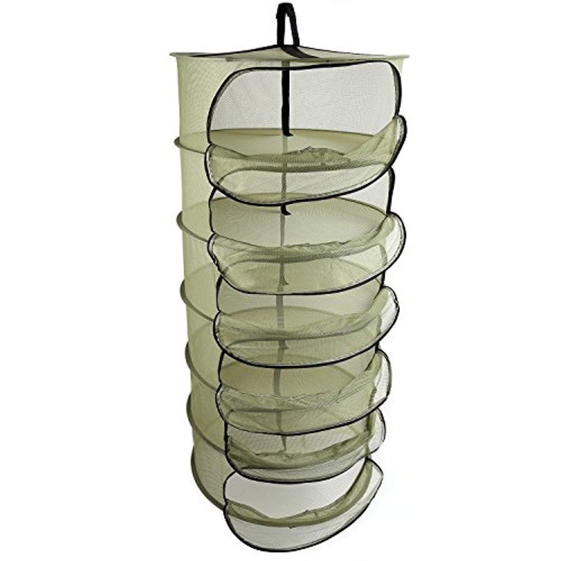Ipomelo Hanging Herb Dring Rack Dry Net 2ft 6 Layer w/Zipper Opening Green Mesh