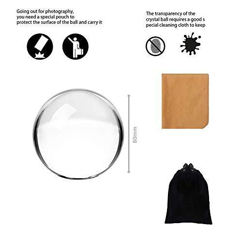 Clear Crystal Ball - 3.15 inch (80mm) Art Decor Crystal Prop Sphere for Photography/Wedding/Home/Decoration -K9 Crystal Suncatchers Ball with Velvet Storage Bags and Gift Box