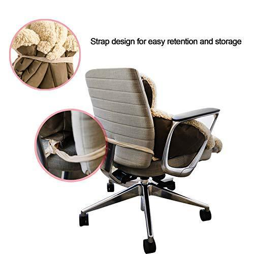 Moral Chase Support Waist Backrest Pad Seat Cushion Cashmere Wool Keep Warm, Best Cushion for Home Office Chair, Car Seat, Recliner (Khaki)