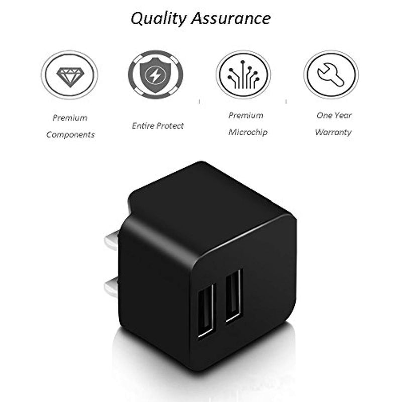 Wall Charger,AMEMO® 12W(2.4A) 2-Port USB Power Adapter with Foldable Plug for iPhone,iPad,Samsung Galaxy, Motorola,HTC,Other Smartphones,External Batteries and More (Black)