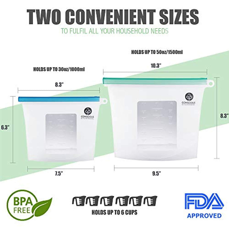Conscious Kitchenware Eco Friendly Reusable Silicone Food Storage Bags 1x Large 50oz + 3x Small 30oz - Airtight Seal Keeps Food Fresh - FDA-Approved Reusable Snack, Sandwich, Sous Vide & Freezer Bag