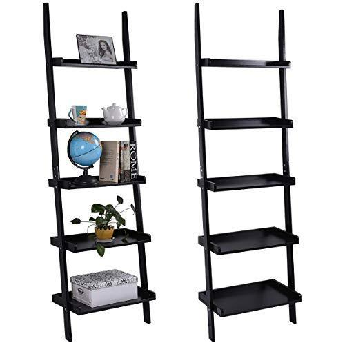 Tangkula Ladder Bookcase 5-Tier Wood Leaning Shelf Wall Plant Shelf Ladder for Home Office Modern Flower Book Display Shelf Storage Rack Stable A-Frame Wooden Ladder Shelf (Black)