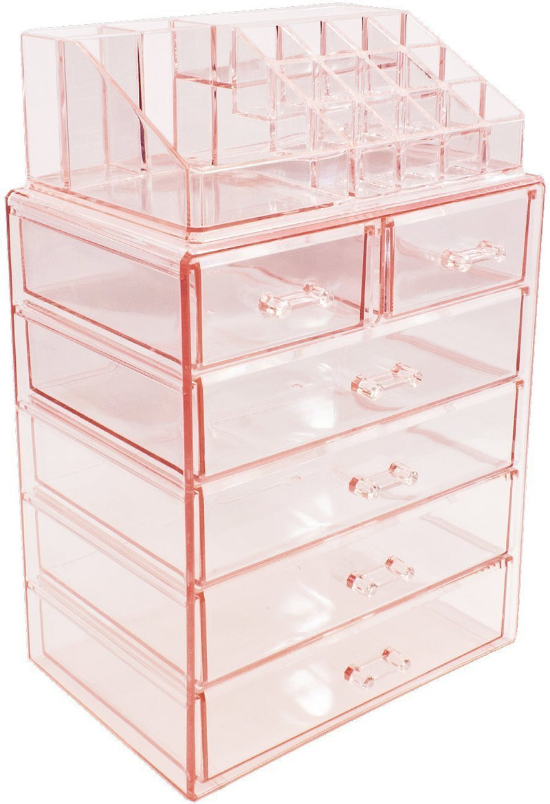 Sorbus Acrylic Cosmetic Makeup and Jewelry Storage Case Display-Spacious Design-for Bathroom, Dresser, Vanity and Countertop (4 Large, 2 Small Drawers, Clear)