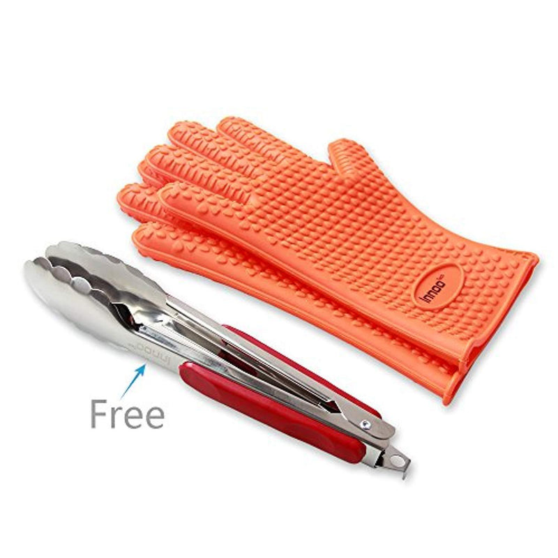 BBQ Gloves Silicone Heat Resistant BBQ Grill Gloves Great for Barbeque, Oven, Cooking, Frying, Baking, Smoking, Potholder, FDA Approved and BPA Free (Tong included)