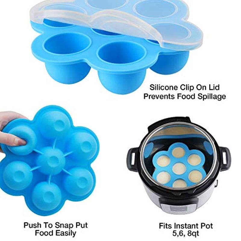 WEBSUN Silicone Egg Bites Molds for Instant Pot Accessories for 5,6,8 qt Pressure Cooker, FDA Approved Reusable Storage Container, Freezer Trays with Lid - with E-Recipe User Guide