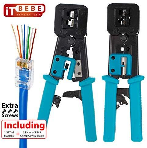ITBEBE RJ45 Crimping Tool Made of Hardened Steel with Wire Cutter Stripping Blades and Textured Grips (RJ45 CRIMPER TURQUOISE-B)