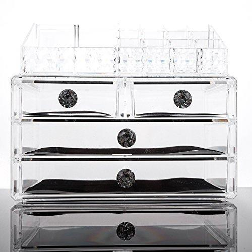 SANNO Acrylic Clear Make Up Organiser Cosmetic Storage Box Display Makeup Case, 20 Sections with 4 Drawers, Diamond Drawer Handle