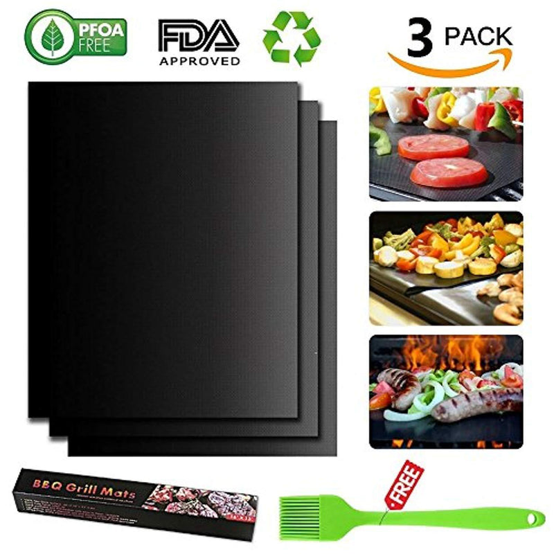 BBQ Mat for Grill Set of 3 - Tengyu 100% Non-stick Barbeque Grill Mats - Heavy Duty Reusable and Easy to Clean Works on Gas Charcoal Electric Grill and More - 16 x 13 Inch