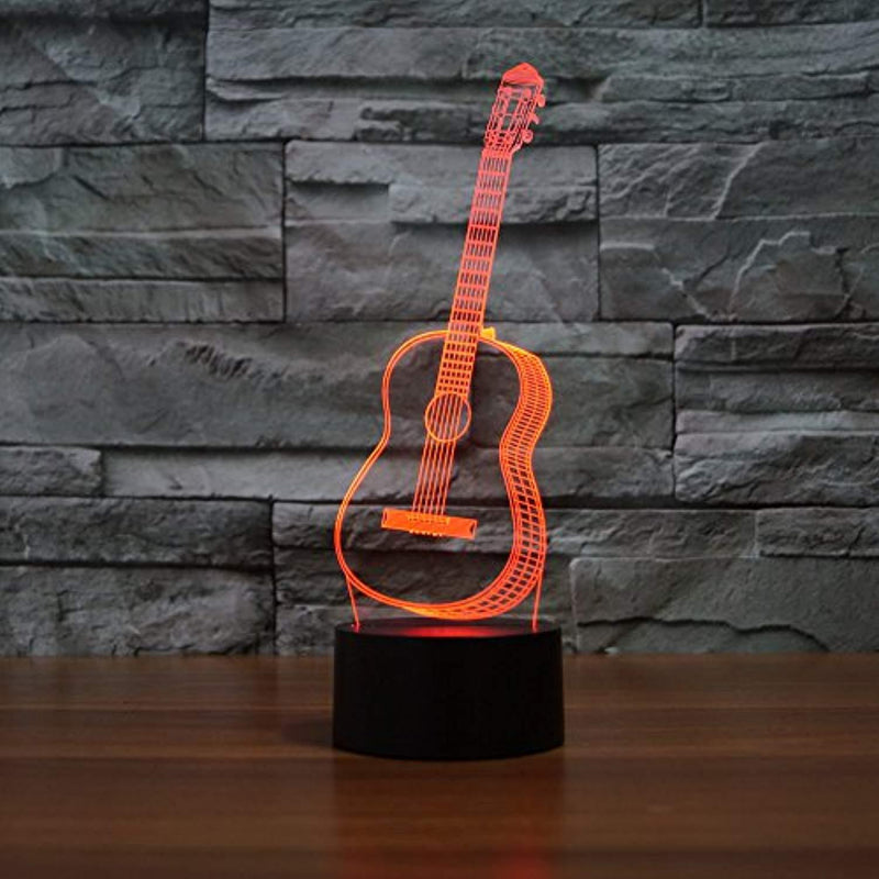 Lmeison Guitar 3D Optical Illusion Desk Lamp Unique Night Light for Home Decor 7 Colors Changing USB Powered Touch Button LED Table Lamp - Creative Gift for Kids/Friends/ Birthdays/Holidays