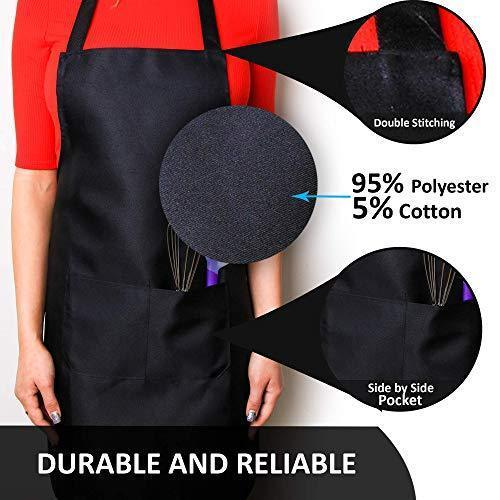 CHEFLUX [12pk] Premium Professional Red Restaurant Aprons with 2 Large Pockets [Bulk] Chef Cooking Bib Apron for Kitchen Waitress [Unisex] Men Women [53 g Lightweight] BBQ Painting Stylist Artist