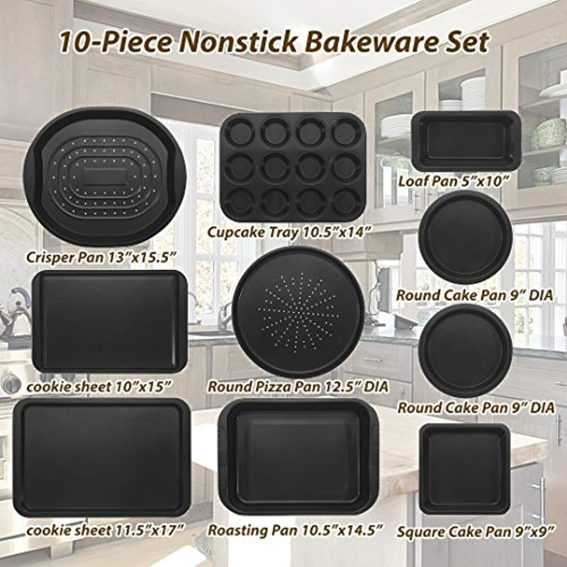 ChefLand 10-Piece Nonstick Bakeware Set | Great Holiday Gift Ideas for Birthday, Anniversary Kitchen Baking Pans, Non Stick Coating, Durable Carbon Steel | Prime Wedding, Housewarming & Christmas Gift